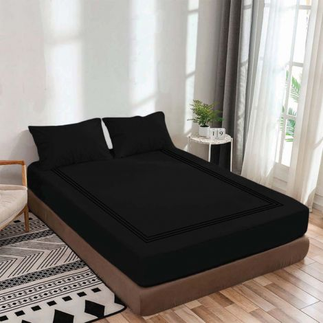 luxurious-sateen-fitted-sheet-triple-embroidery-border-black-solid