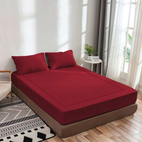 burgundy-luxurious-sateen-fitted-sheet-single-embroidery-border