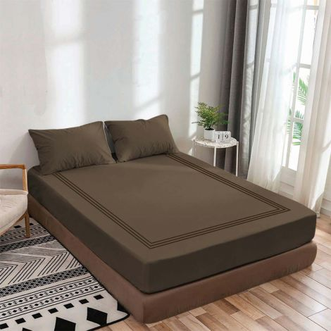 luxurious-sateen-fitted-sheet-triple-embroidery-border-chocolate-solid