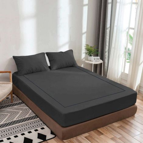 dark-grey-luxurious-sateen-fitted-sheet-single-embroidery-border