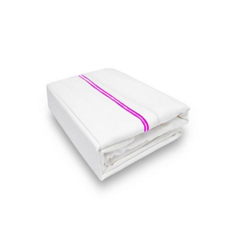 Double Embroidery Border Sateen Flat Sheet-Hot Pink Border