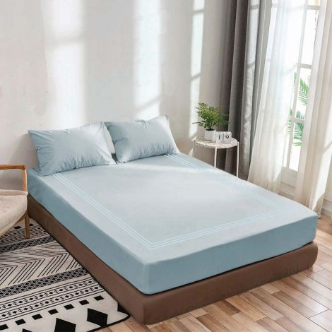 luxurious-sateen-fitted-sheet-triple-embroidery-border-light-blue-solid