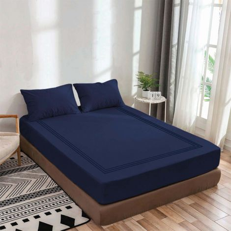 luxurious-sateen-fitted-sheet-triple-embroidery-border-navy-blue-solid
