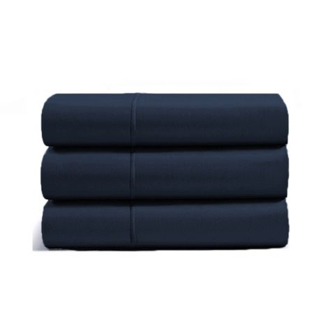 luxurious-single-embroidery-border-sateen-flat-sheet-navy-blue-solid
