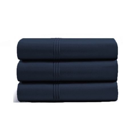luxurious-triple-embroidery-border-sateen-flat-sheet-navy-blue-solid