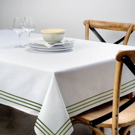 Triple Embroidery Border Sateen Poly Cotton Solid Table Cloth-Sage Border