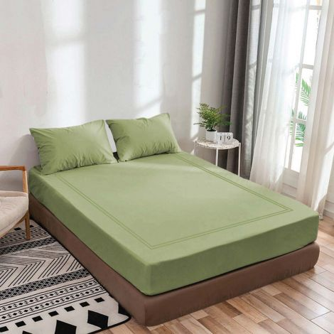 luxurious-sateen-fitted-sheet-double-embroidery-border-sage