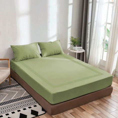luxurious-sateen-fitted-sheet-triple-embroidery-border-sage-solid